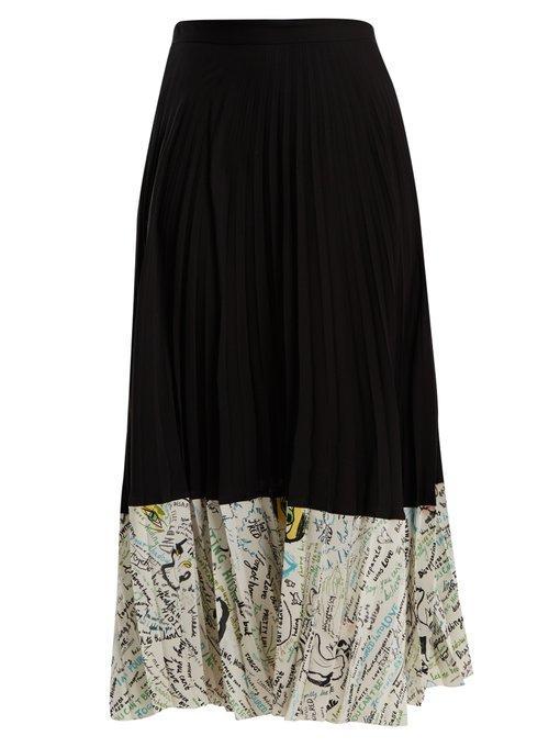 Maison Margiela Contrast-Panel Pleated Silk Midi Skirt In Black Multi