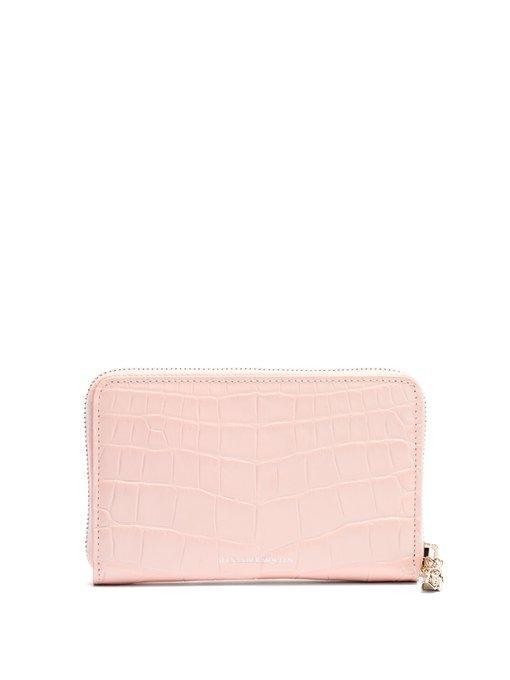 Alexander Mcqueen Zip-Around Continental Leather Wallet In Light Pink