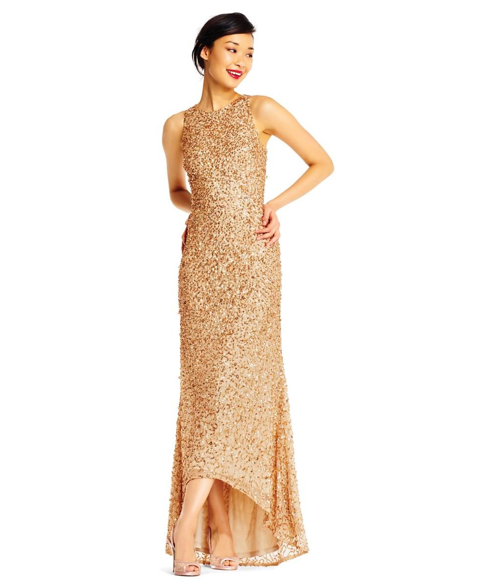 0dc621d7e34 Adrianna Papell Sleeveless Sequin Beaded Gown With V-Neck And V-Back ...
