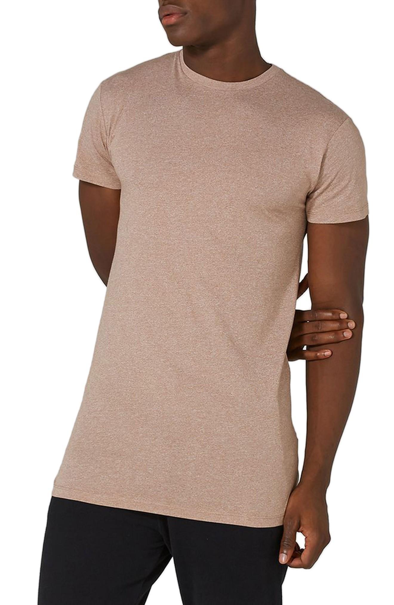 4f65015b6 Topman Muscle Fit Longline T-Shirt In Light Brown | ModeSens
