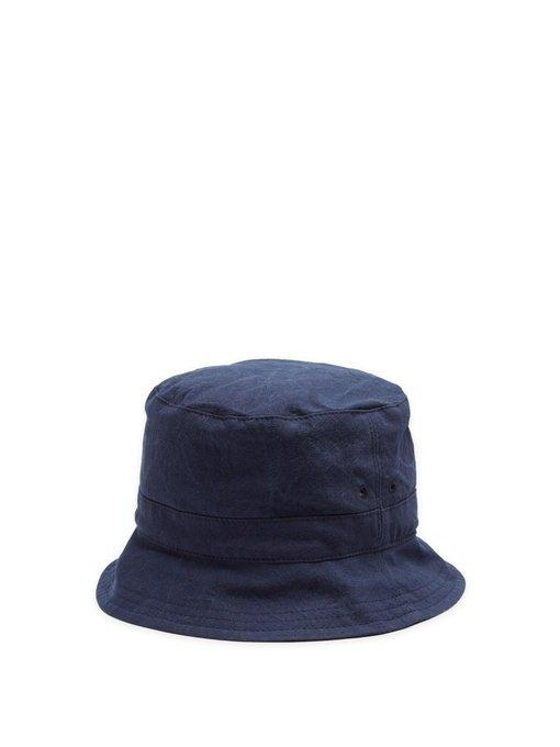 d6bc2cfe180 Thom Browne Logo-Patch Cotton Bucket Hat In 415 Navy
