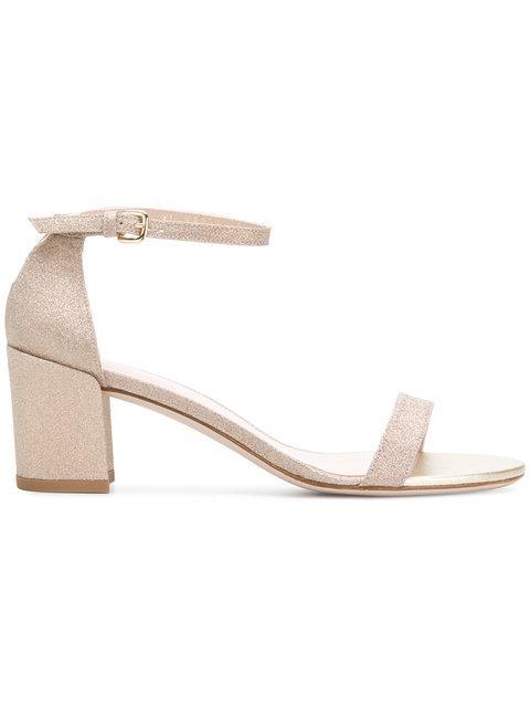Stuart Weitzman Simple Glitter Sandals - Neutrals