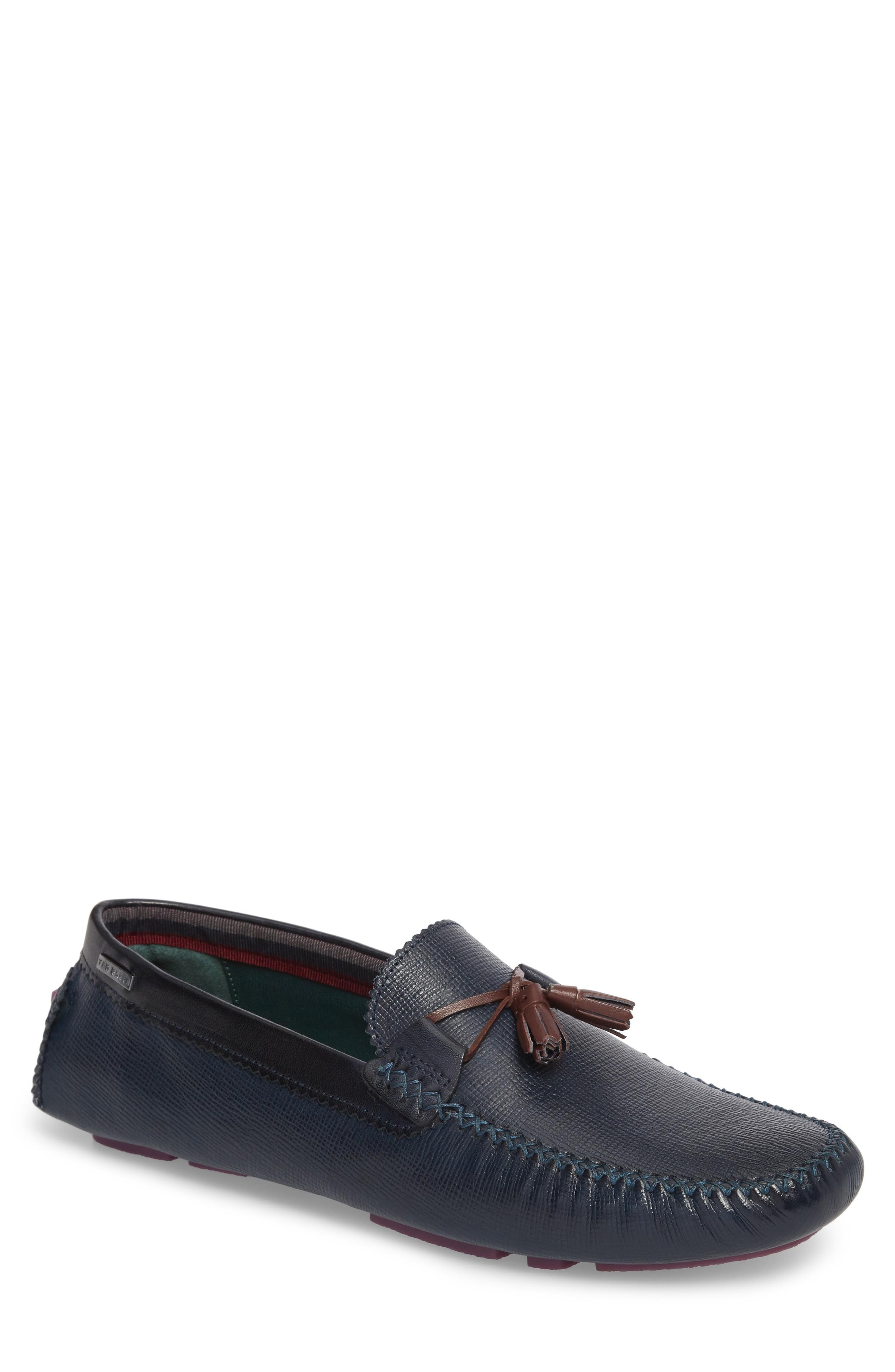 54337f7f512 Ted Baker Urbonn Tasseled Driving Loafer In Dark Blue Leather