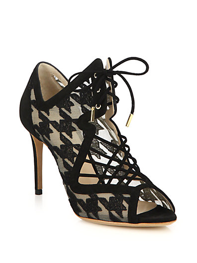 Nicholas Kirkwood Woman Ava Houndstooth-Embroidered Mesh And Suede Sandals Black In Black-White