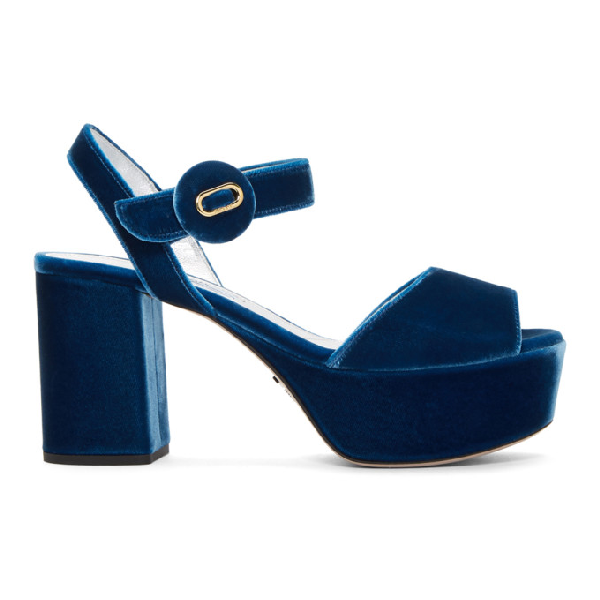 Prada Mid-Heel Platform Sandals In F0215 Cobal