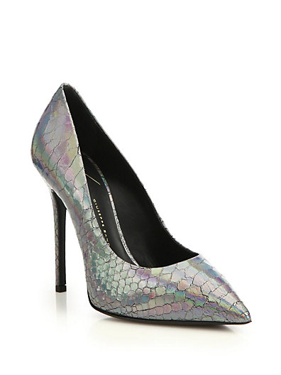 Giuseppe Zanotti Iridescent Snake-Embossed Leather Pumps In Silver