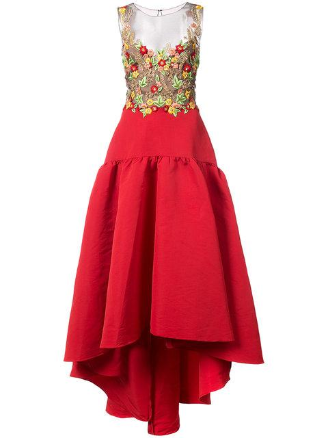 5b0f525ce4 Marchesa Notte Red Embroidered Silk Faille High-Low Dress | ModeSens