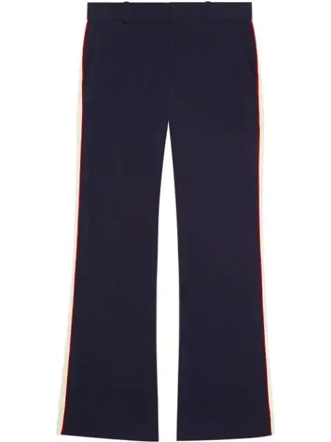 Gucci Side Stripe Stretch Cady Crop Flare Pants In Blue