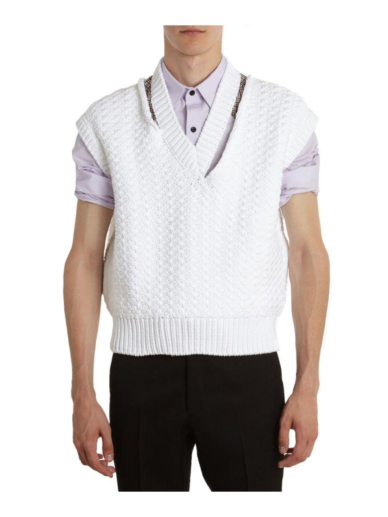 Raf Simons Cotton Cropped Vest In Bianco