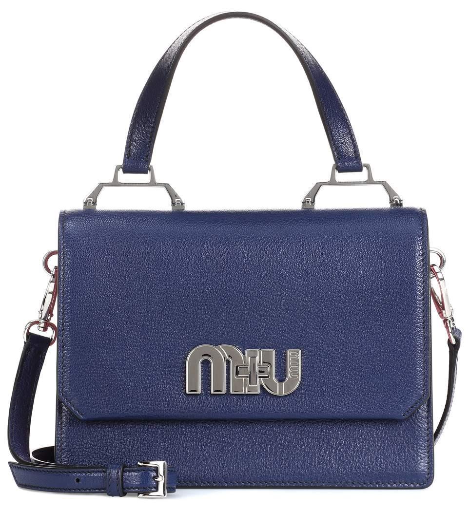 Miu Miu Leather Shoulder Bag In Blue