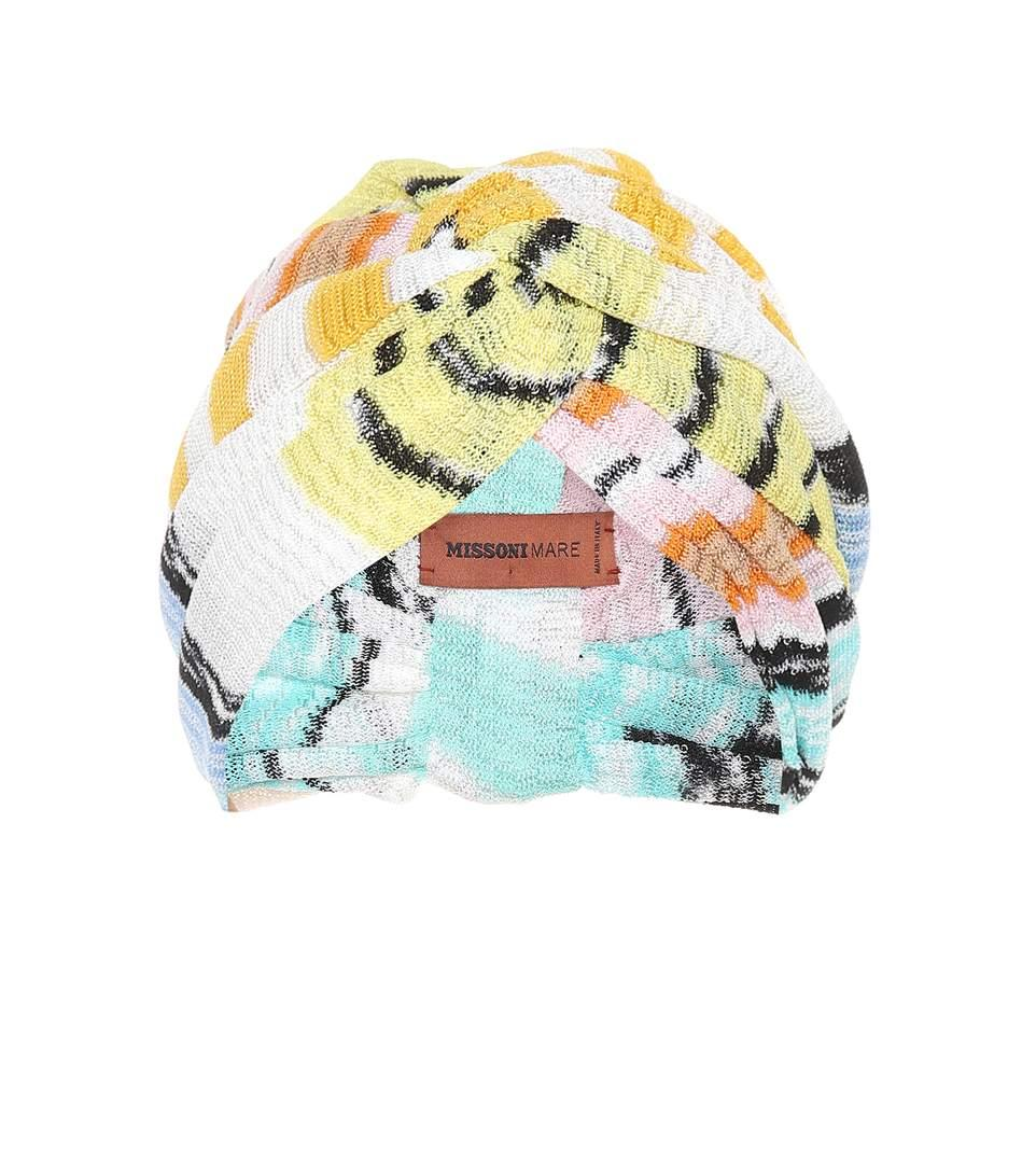 d976a3b090c Missoni Wave-Stripe Knitted Turban Hat In Multicoloured