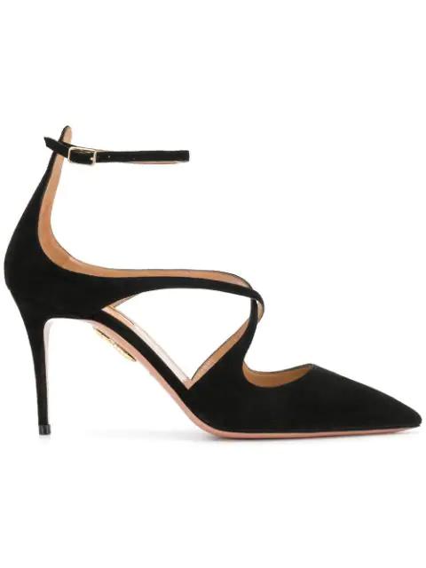 Aquazzura Viviana Suede Ankle-Strap Pump In Black