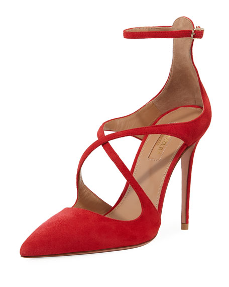 Aquazzura Viviana Suede Ankle-Strap Pump In Red