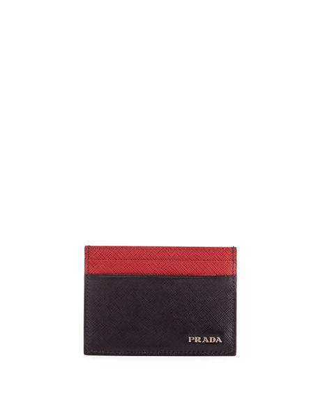 Prada Colorblock Saffiano Leather Card Case In Black