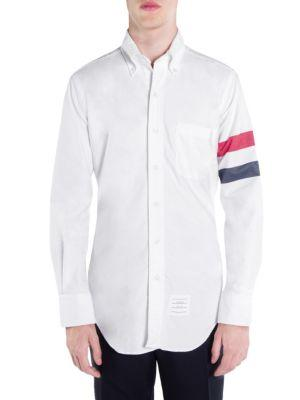 Thom Browne Classic Cotton Casual Button-Down Shirt In Red White Blue
