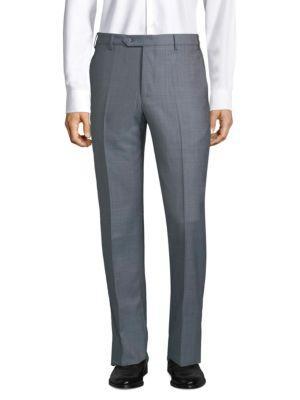 Zanella Devon Classic Wool Trousers In Blue