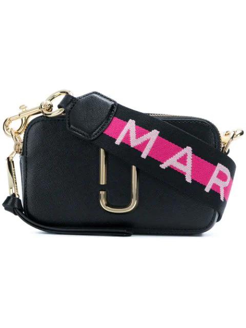 cdd2f6a30 Marc Jacobs Snapshot Embellished Textured-Leather Shoulder Bag In Black