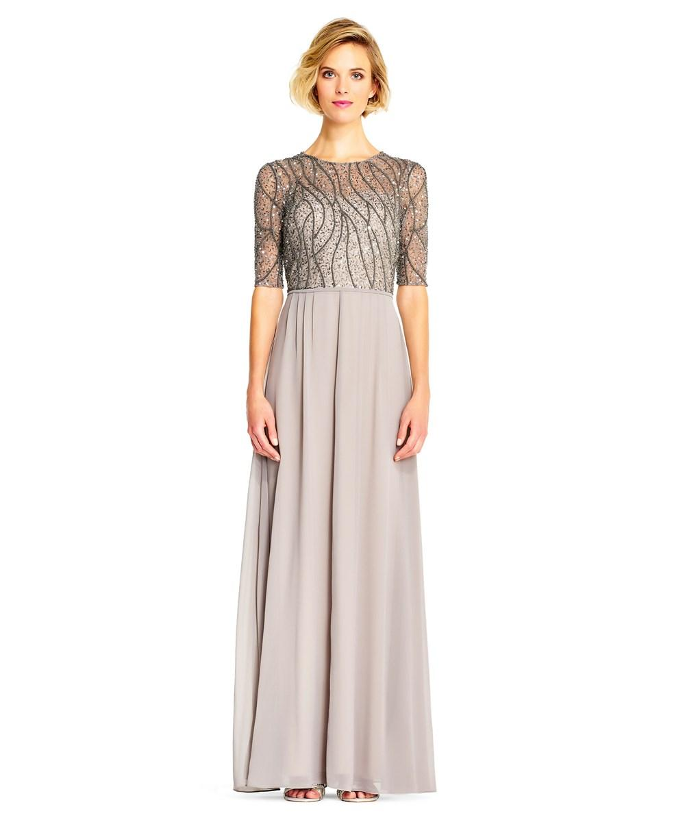 2587eb63dc Adrianna Papell Sequin Beaded Chiffon Gown With Elbow Sleeves In ...