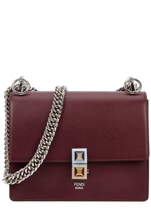 Fendi Kan I Small Leather Shoulder Bag In Burgundy