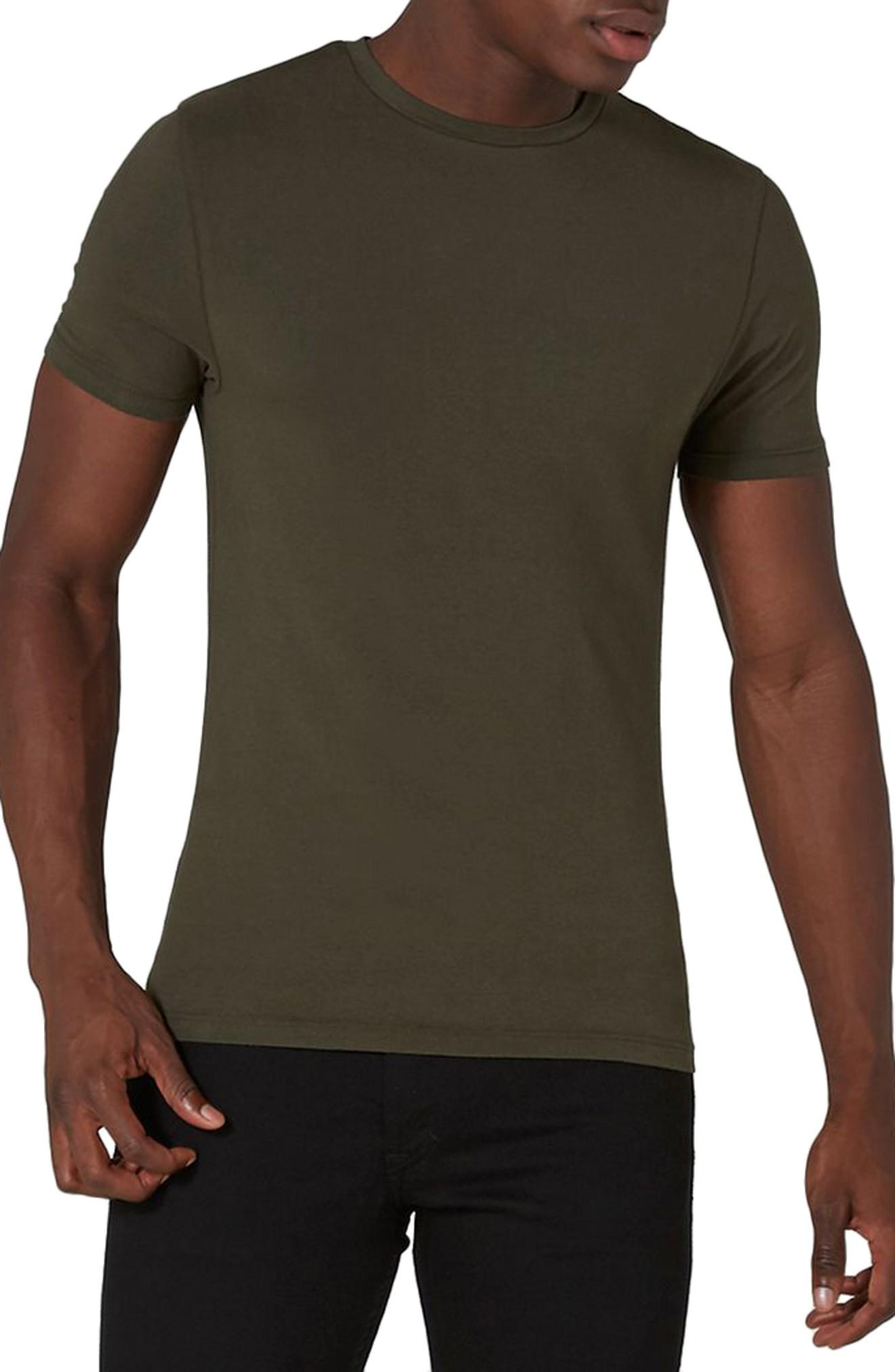 0018a99a Topman Ultra Muscle Fit T-Shirt In Olive | ModeSens
