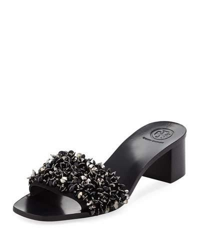 f0305796a Tory Burch Logan Embellished Floral Slides In Perfect Navy Gray ...