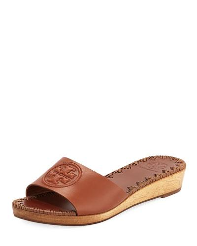 0b50085e8e9 Tory Burch Patty Logo Wedge Slide Sandal In Perfect Cuoio