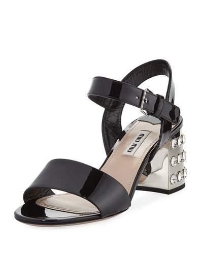 f3345b45f Miu Miu Embellished Heel Patent Leather Sandals In Black