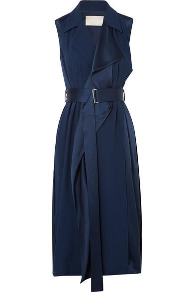ebf552719b5a Jason Wu Crepe Back Satin Belted Wrap Dress In Navy | ModeSens