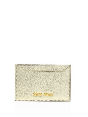 Miu Miu Madras Metallic Leather Card Case In Gold