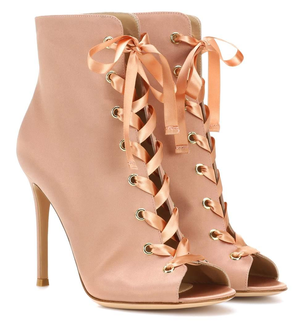 Gianvito Rossi Exclusive To Mytheresa.Com - Marie Satin Peep-Toe Ankle Boots In Pink