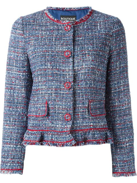 Boutique Moschino BouclÉ Jacket In Blue