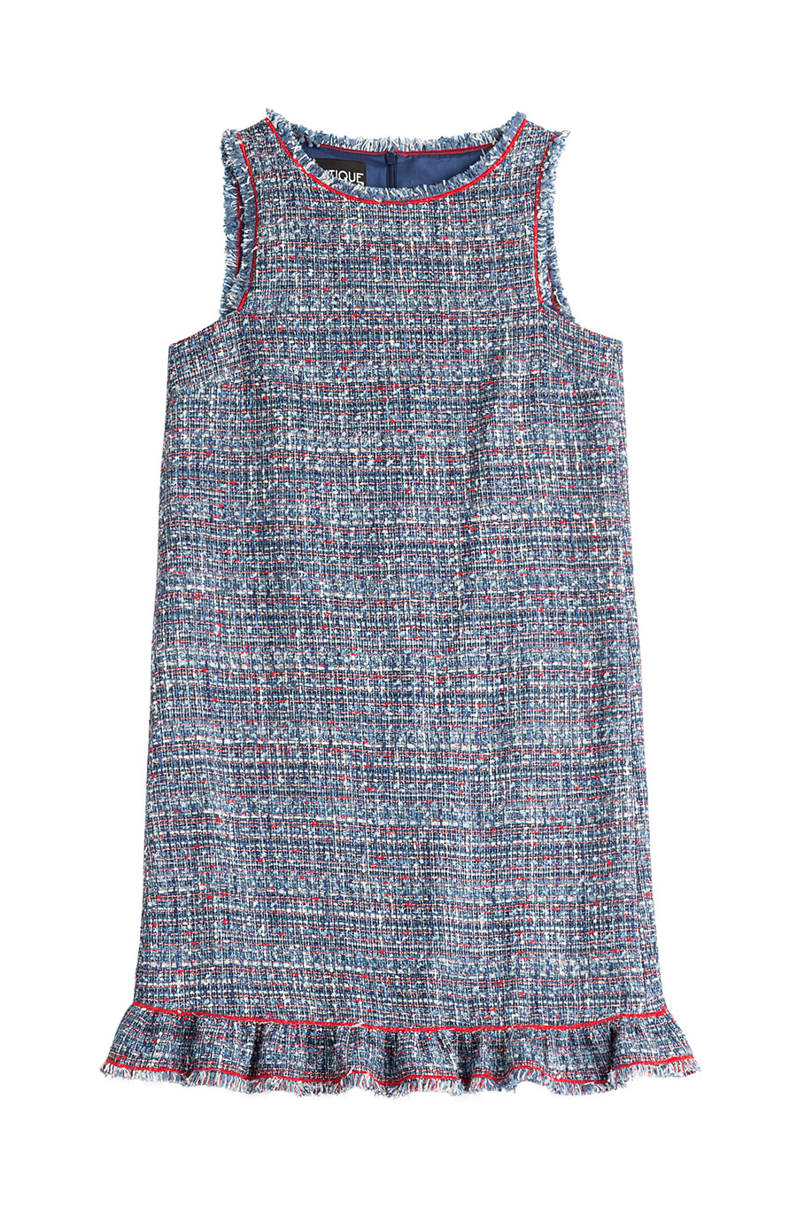 Boutique Moschino Tweed Dress In Blue