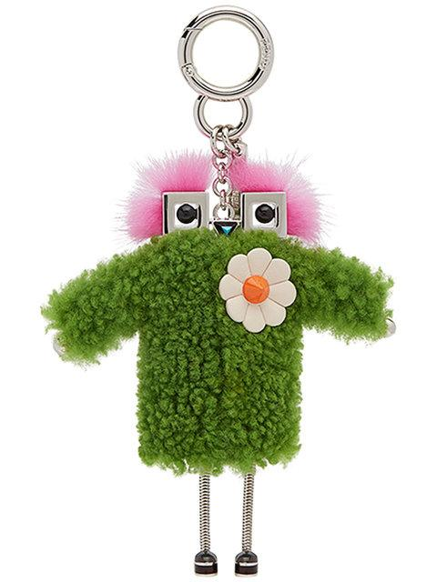 Green Shearling Teen Witch Charm Keychain in Multi