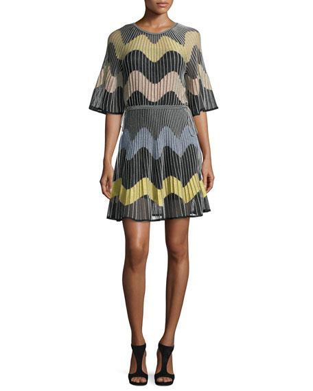 0b56330e0e M Missoni Stripe-Intarsia Fine-Knit Dress In Black | ModeSens