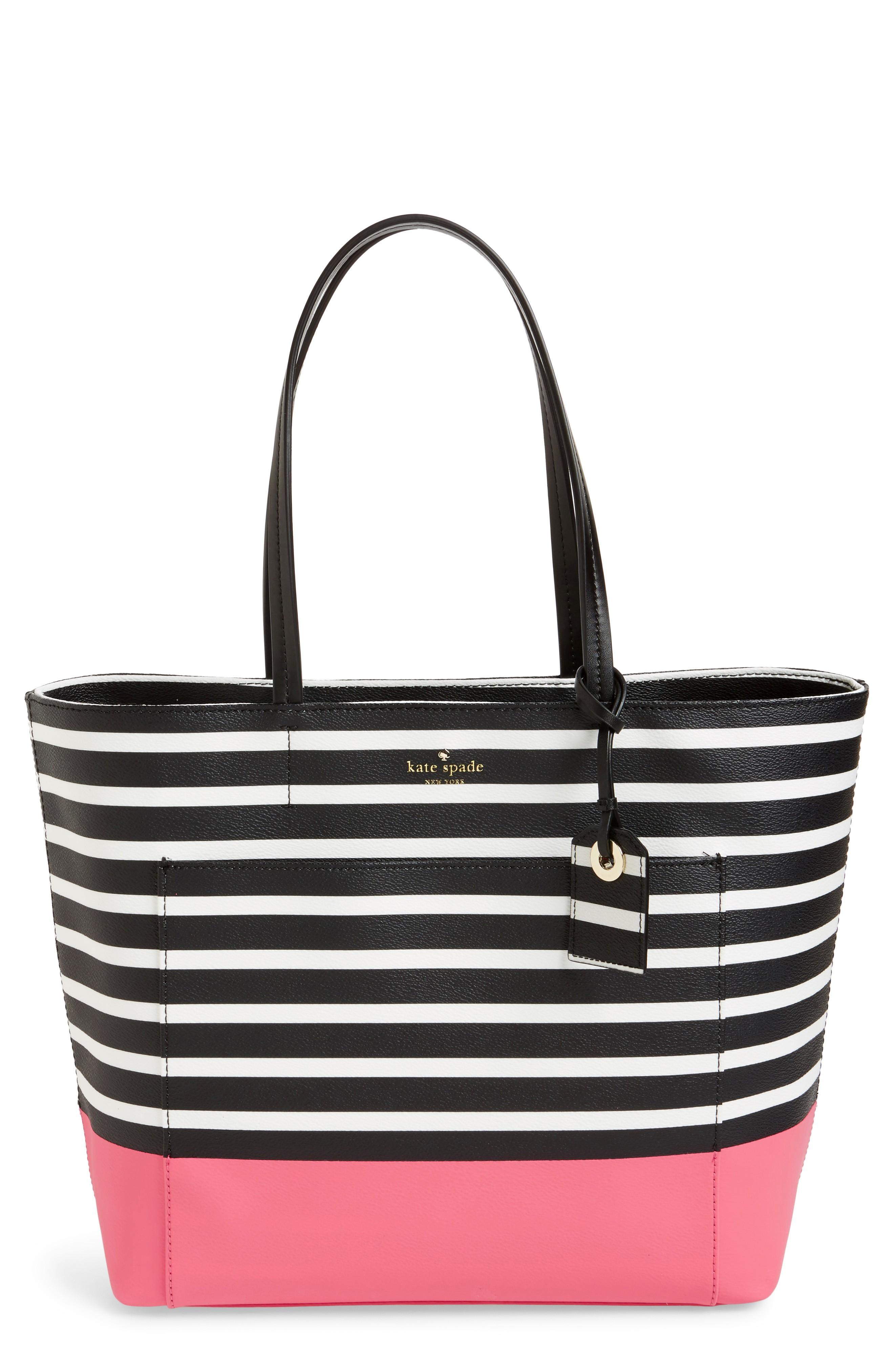 ccb075eb8 Kate Spade Riley Two-Toned Striped Tote Bag, Peaches Herb In Peach Sherbet