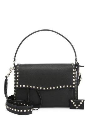7d5056491b6cd Valentino Medium Rockstud Leather Shoulder Bag - Black