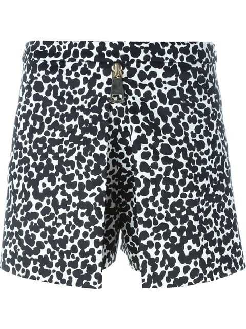 Boutique Moschino Graphic Leopard Print Shorts In Black