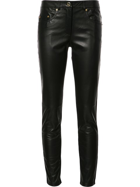 Boutique Moschino Napa Leather-front Cropped Combo Pants, Black
