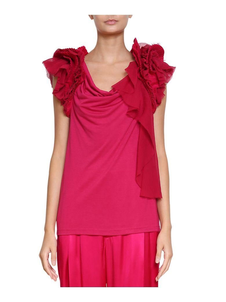 Givenchy Silk Blend Ruffled Top In Fucsia