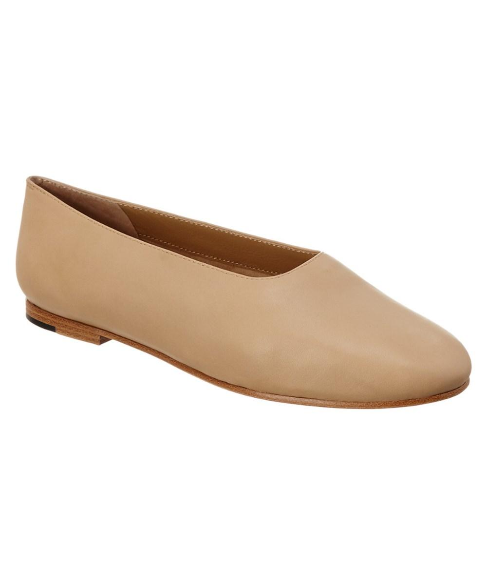 Vince Maxwell Leather Ballerina Flat, Sand In Tan