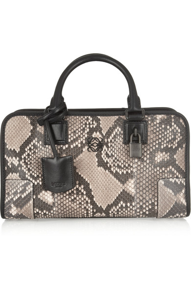 Loewe Amazona Small Leather-Trimmed Python Tote