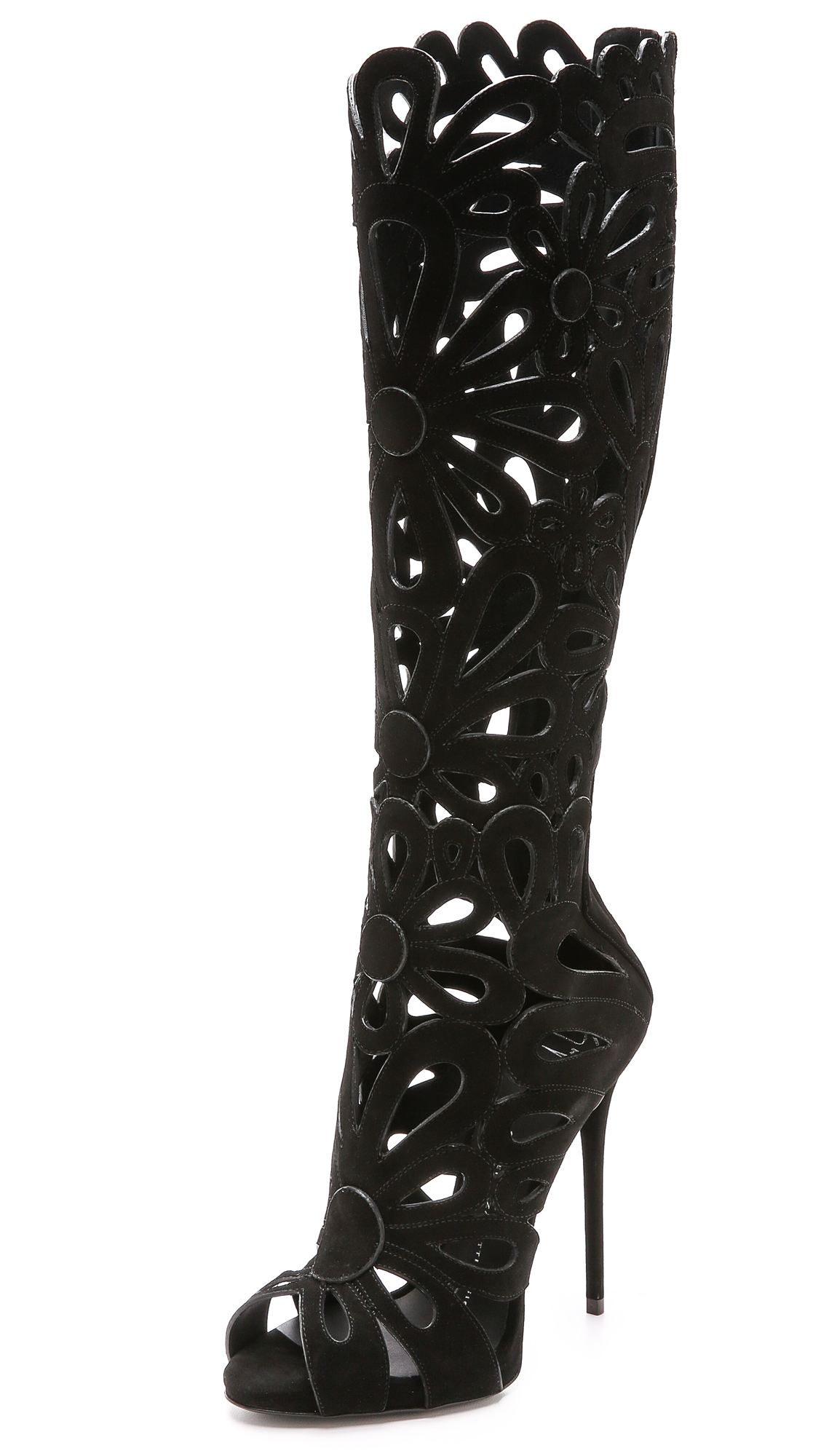 Giuseppe Zanotti 'Coline' Floral Cutout Suede Knee High Boots In Black
