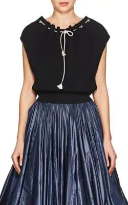 Calvin Klein Rib-Knit Cotton Crop Sweater - Black