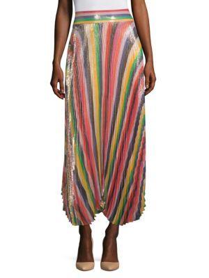 1e2964b65 Alice And Olivia Alice + Olivia Katz Metallic Pleated Striped Midi Skirt In  Multi