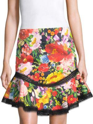 a1eff856e5d4d Alice And Olivia Eriko Floral-Print Curved-Hem Skirt With Lace Trim In  Blooming