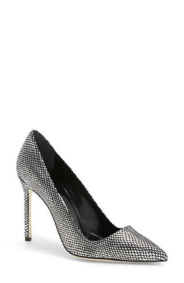 Manolo Blahnik 'Bb' Pointy Toe Pump (Women) In Black/ Silver