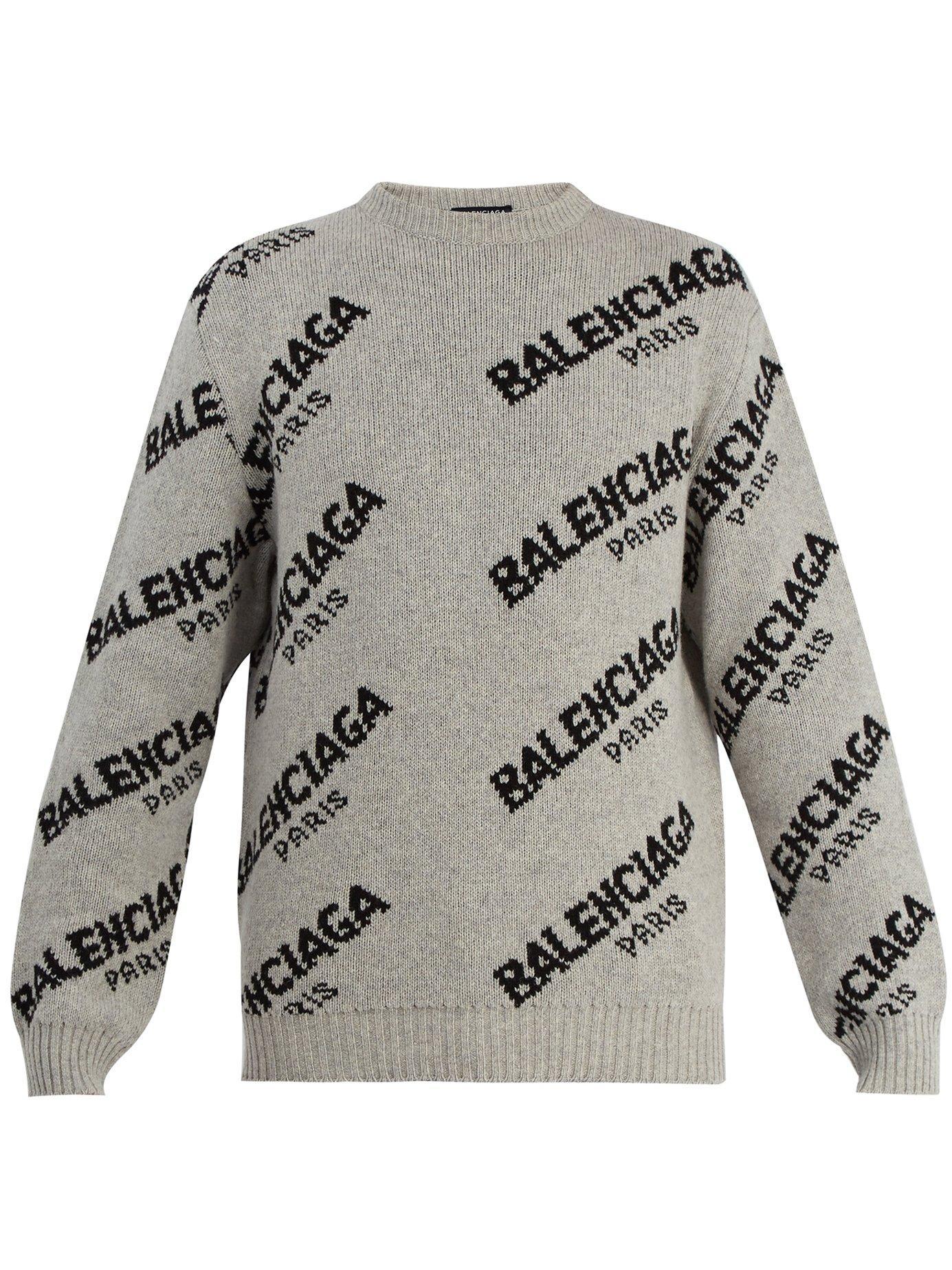 8343c66699dd9 Balenciaga Logo-Jacquard Crew-Neck Knit Sweater In Grey