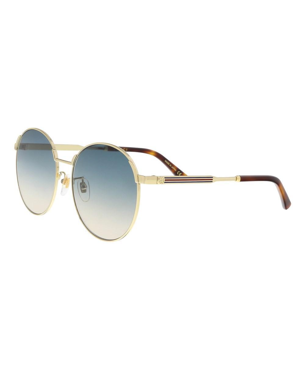 c59504ccb684 Gucci 58Mm Round Sunglasses - Gold/ Blue | ModeSens