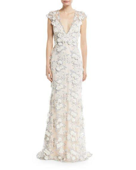 Silver Cap Sleeve 3d Lace Evening Gown In Silver Multi