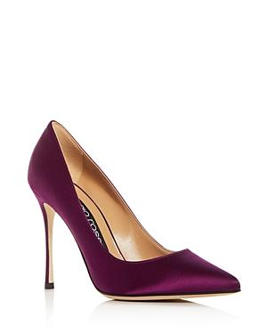 Sergio Rossi Women's Godiva Satin Pointed Toe Pumps In Aubergine Purple